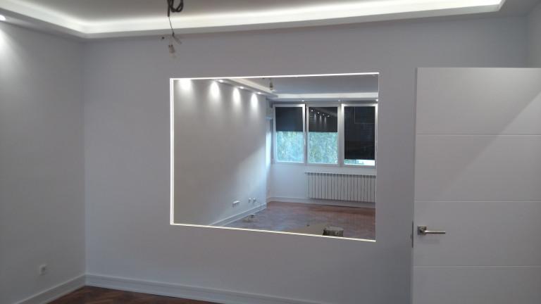 portfolio 17/31  - Ampliación salón. luminaria, luces led, pladur, acuchillado y barnizado parquet, alicatado