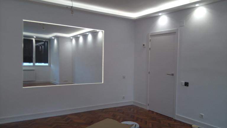 portfolio 18/31  - Ampliación salón. luminaria, luces led, pladur, acuchillado y barnizado parquet, alicatado