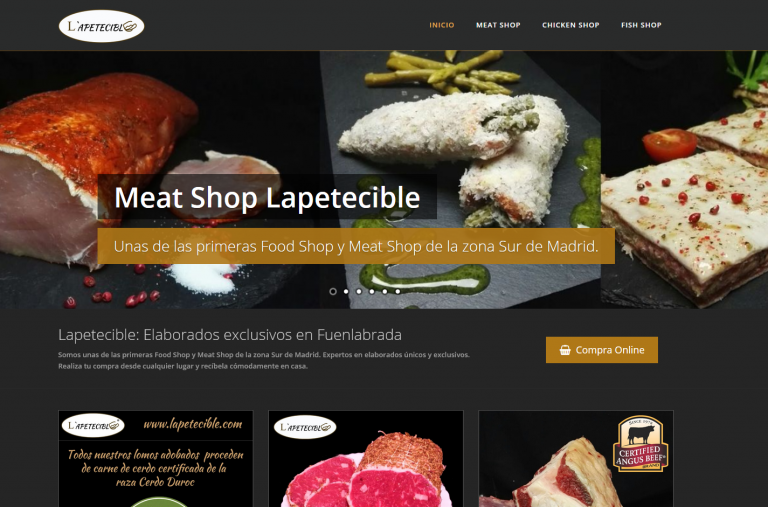 portfolio 1/13  - Página web Blog Tienda de Elaborados y Carnes Lapetecible www.lapetecible.es