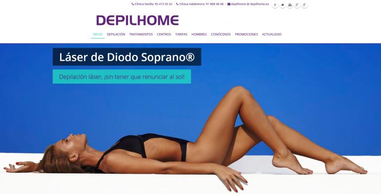 portfolio 7/13  - Página web Clínica Estética Depilhome www.depilhome.es