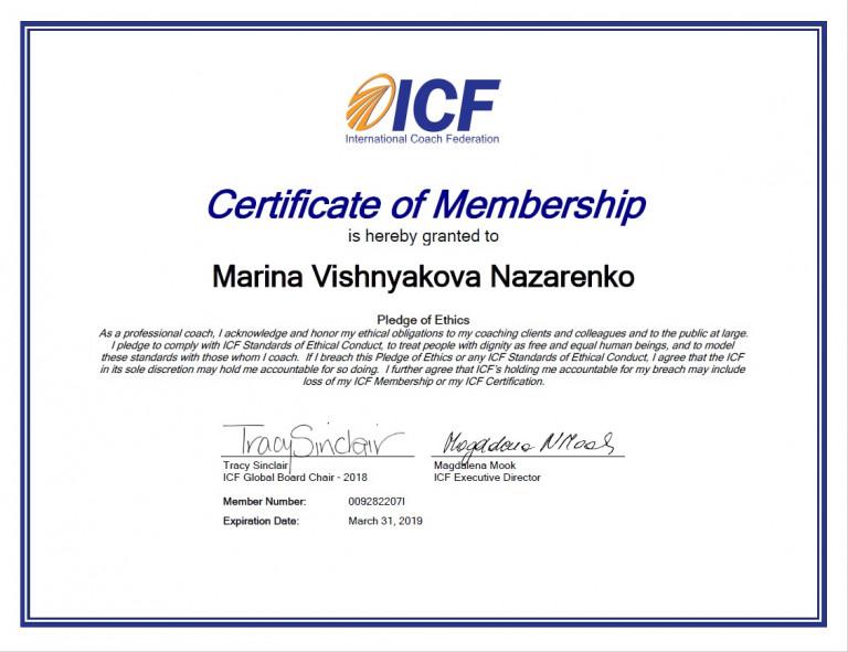 portfolio 2/3  - Afiliación al la International Coach Federation