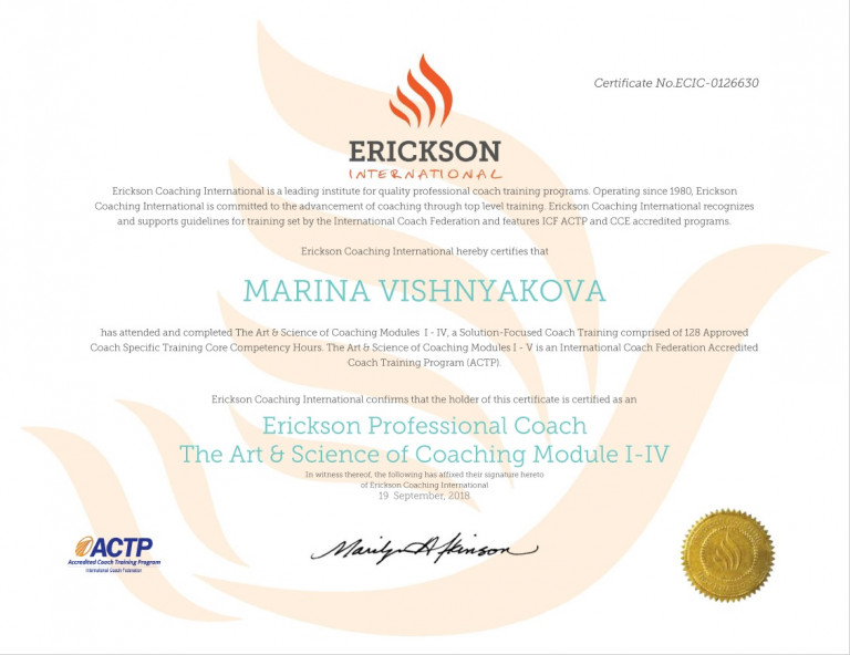 portfolio 1/3  - Erickson Profesional Coach (EPC) Certificate