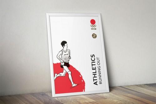 portfolio 1/24  - Juegos conmemorativos Olimpiadas Tokyo 1964 Atletismo creando tensión