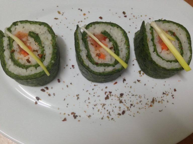 portfolio 1/7  - Sushi con espinaca