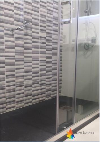 portfolio 9/18  - Cambio de bañera por plato de ducha.1155 ?. Plato de ducha antdieslizante roca granito, mampara hoja vidrio templado,conjunto de ducha termostatico.