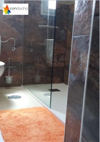 portfolio 10/18  - Cambio de bañera por plato de ducha.1185 ?. Plato de ducha antdieslizante roca granito, mampara hoja vidrio templado,conjunto de ducha termostatico.
