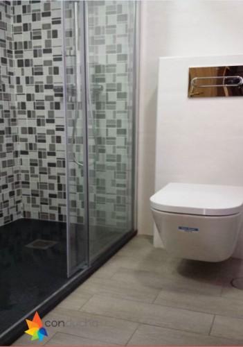 portfolio 11/18  - Baño completo. 3295 ?. Plato de ducha antideslizante, mampara, mueble de baño, inodoro, plaqueta  y conjunto de ducha.