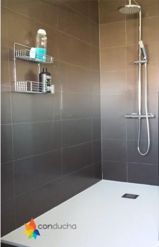 portfolio 6/18  - Cambio de bañera por plato de ducha.1195 ?. Plato de ducha antdieslizante roca granito, mampara hoja vidrio templado,conjunto de ducha termostatico.