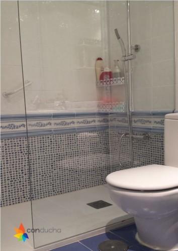 portfolio 7/18  - Cambio de bañera por plato de ducha.1195 ?. Plato de ducha antdieslizante roca granito, mampara hoja vidrio templado,conjunto de ducha termostatico.