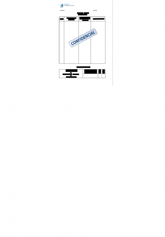 portfolio 2/2  - Tabla ejemplo Psicalud